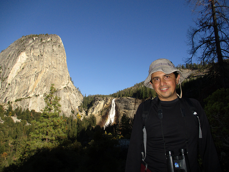 Hector in front of Yosemite's Nevada Fall