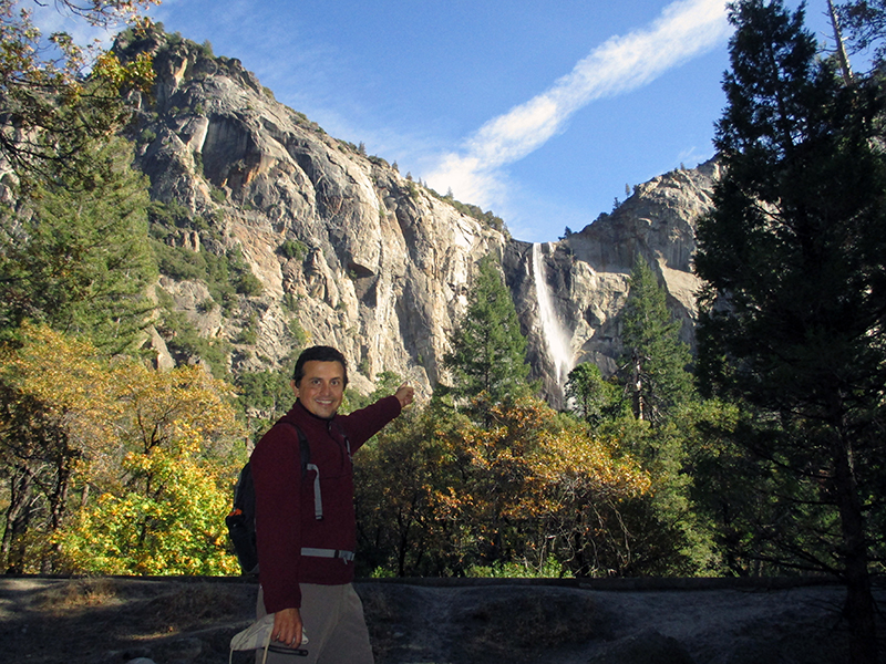 Hector in front of Yosemite's Bridalveil Fall
