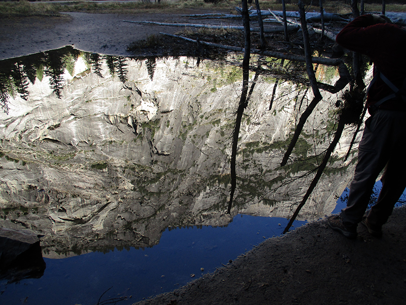 Reflection of Yosemite's granite cliffs in Mirror Lake