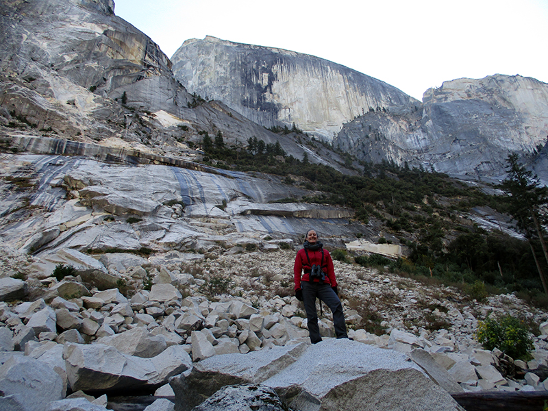 Christi in Yosemite rockfall near Tenaya Creek