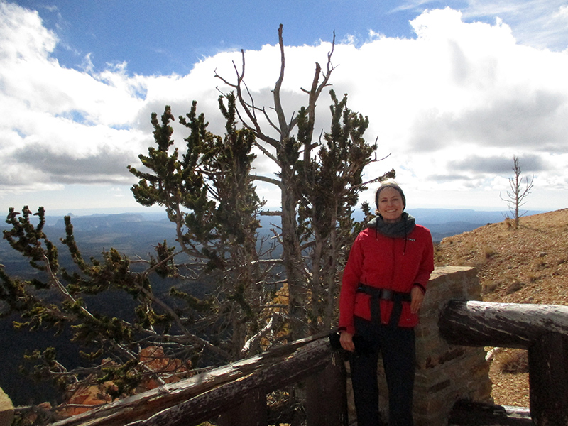 Christi with bristlecone pine in Bryce Canyon National Park