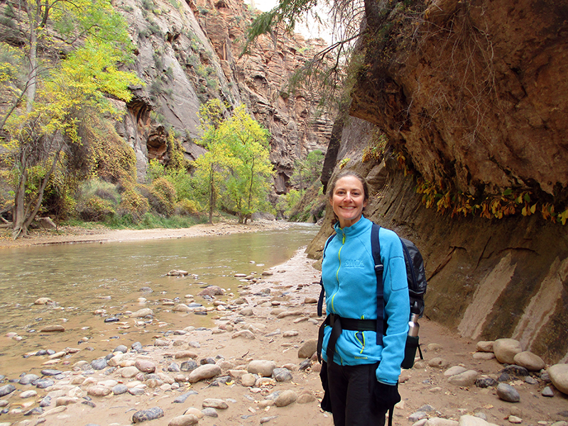 Christi on Zion National Park's Riverside Walk