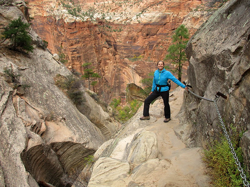 Christi on Zion National Park's Hidden Canyon Trail