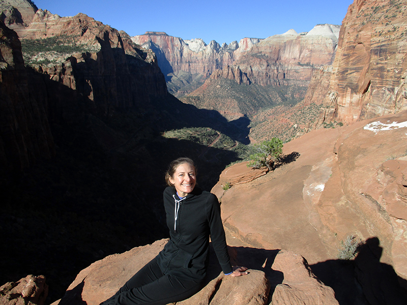 Christi on Zion National Park's Canyon Overlook Trail