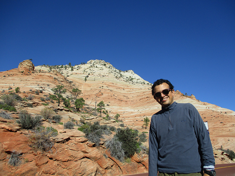 Hector at Zion National Park's Checkerboard Mesa