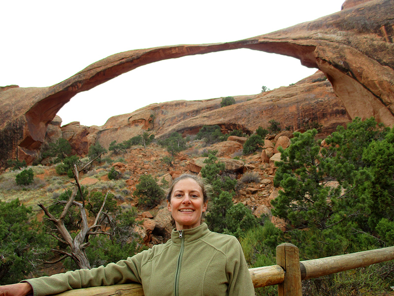 Christi at Landscape Arch in Arches National Park