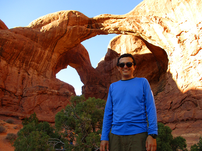 Hector at Double Arch in Arches National Park
