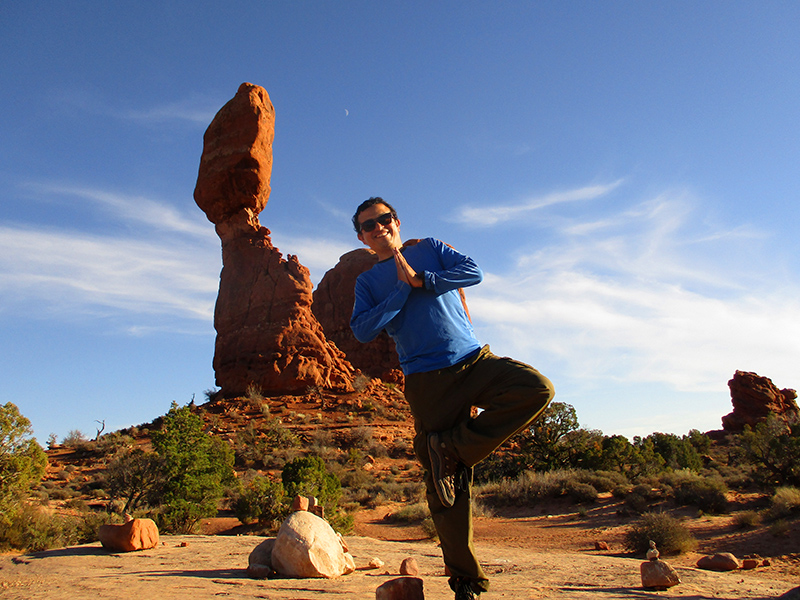 Hector at Balanced Rock in Arches National Park