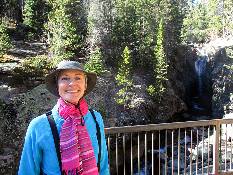 Christi at Chasm Falls in Rocky Mountain National Park