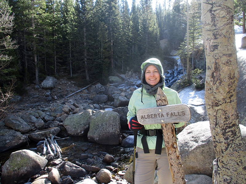 Christi at Alberta Falls in Rocky Mountain National Park