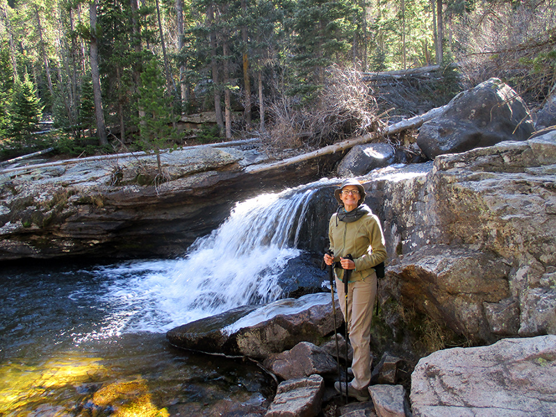 Christi at Copeland Falls in Rocky Mountain National Park