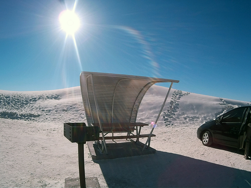 Picnic area in White Sands National Monument