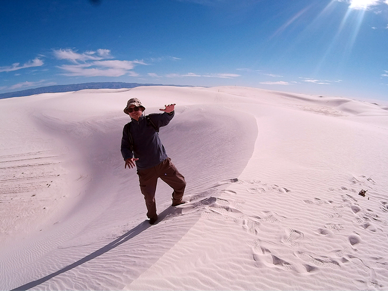 Hector on the dunes in White Sands National Monument