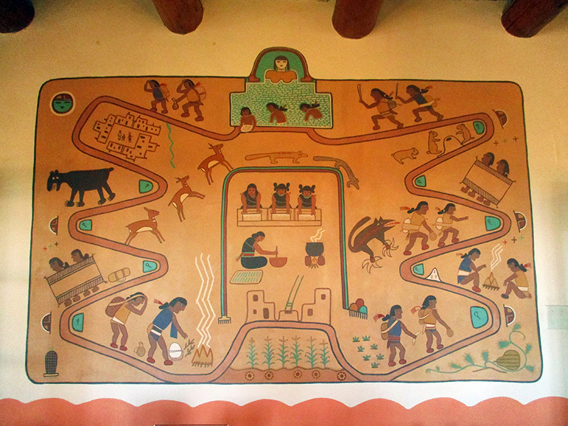 Salt Lake mural by Fred Kabotie in Painted Desert Inn