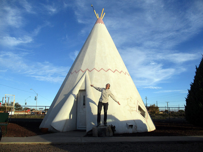 Christi at Wigwam Motel teepee