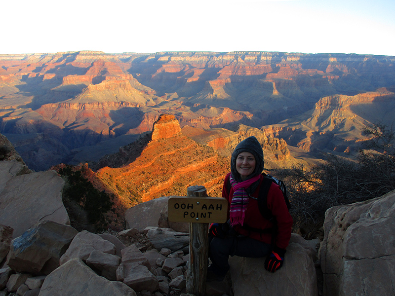 Christi at Ooh Aah Point on the South Kaibab Trail