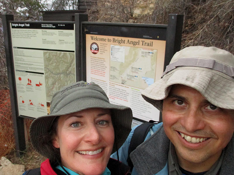 Christi & Hector at the Bright Angel Trailhead