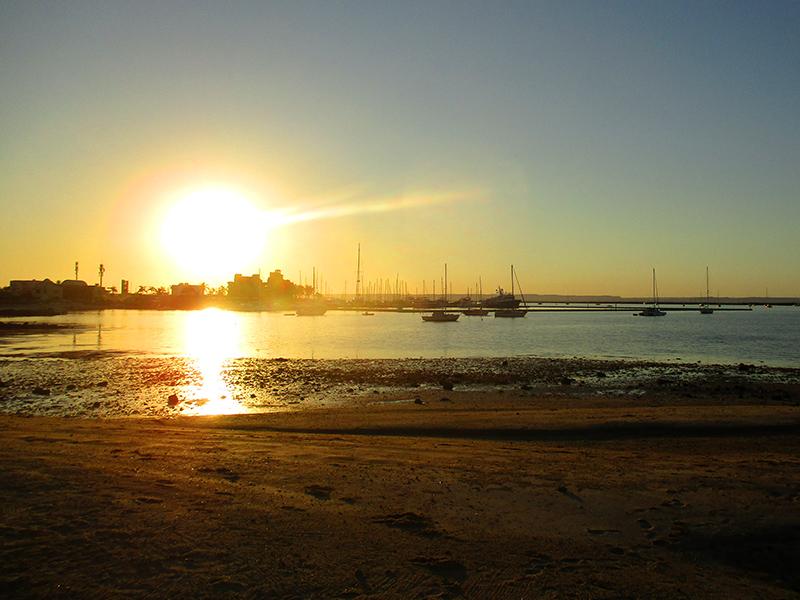 La Paz beach at sunset