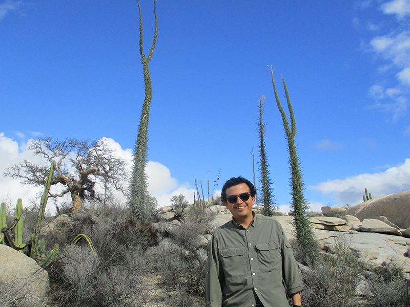 Hector with boojum trees in Valle de los Cirios