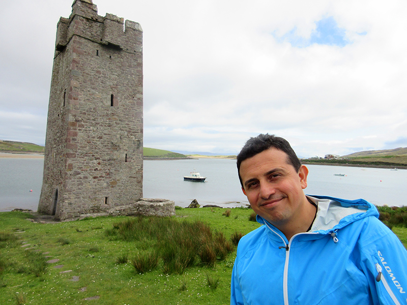 Hector at Kildownet Castle on Ireland's Achill Island