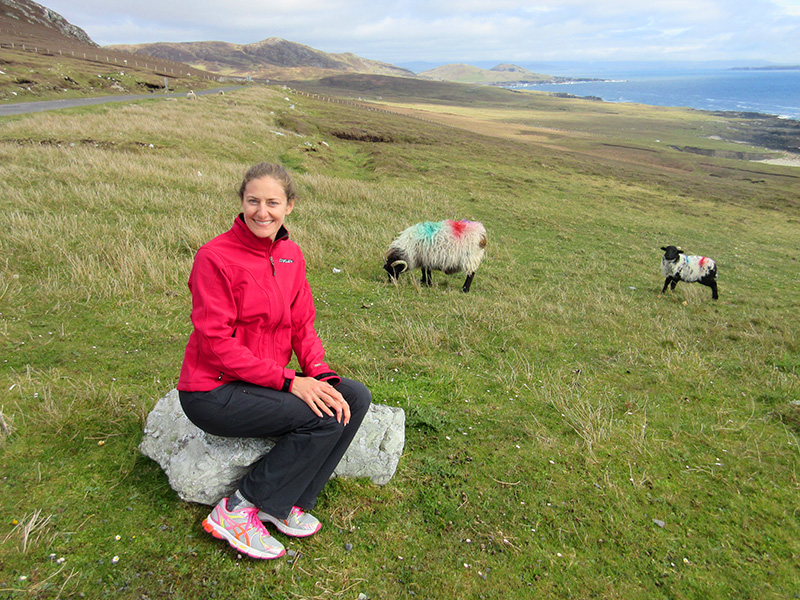 Christi with sheep on Achill Island
