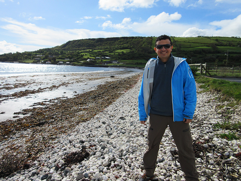 Hector on a beach in Northern Ireland's Glens of Antrim