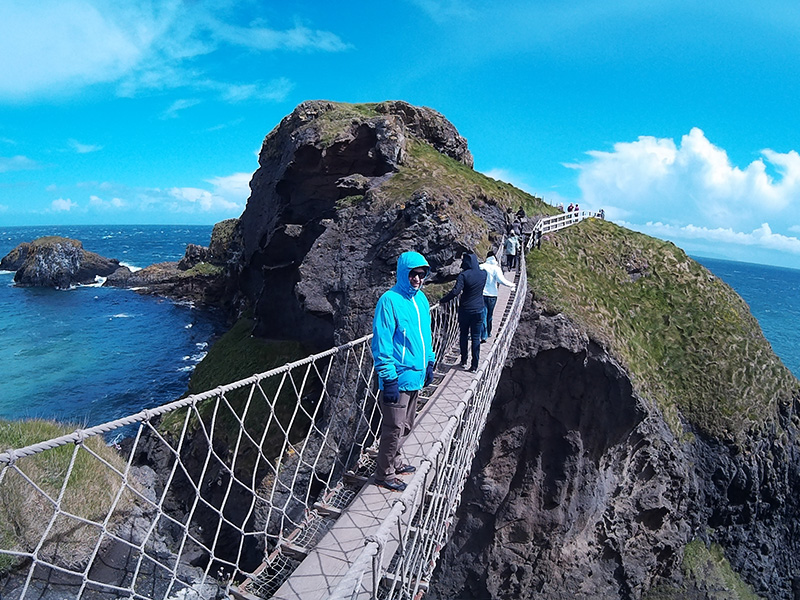 Hector on the Carrick-a-Rede Rope Bridge