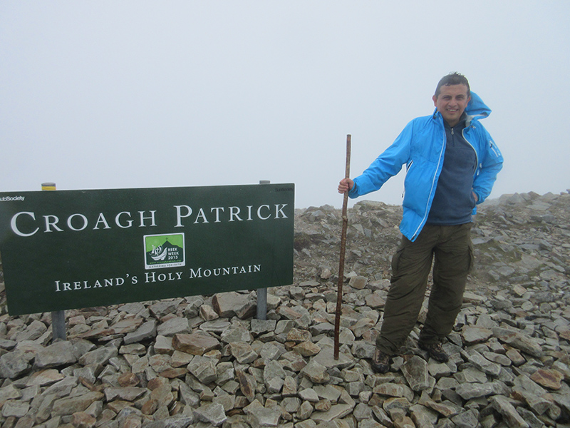 Hector at the top of Croagh Patrick in Ireland