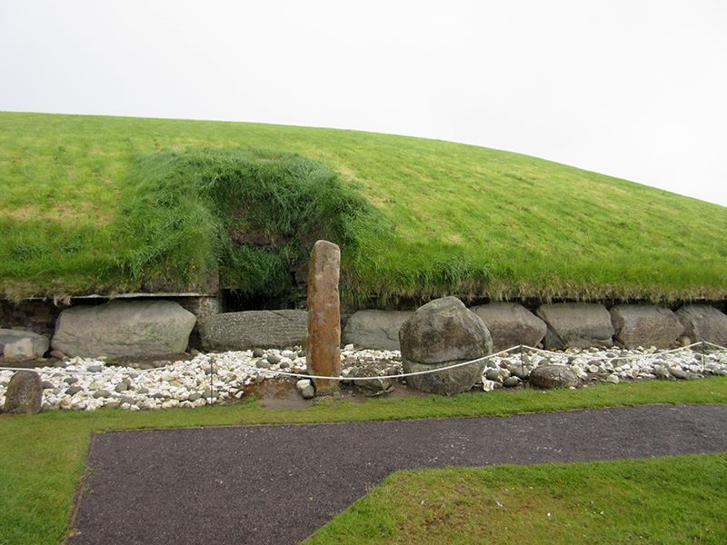 Carved kerbstones at the base of the Knowth burial mound