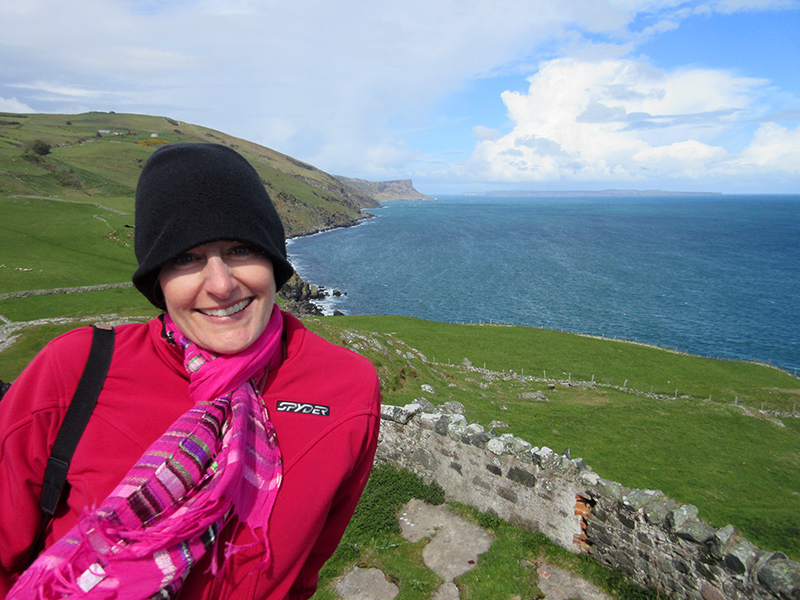 Christi at Torr Head in Northern Ireland