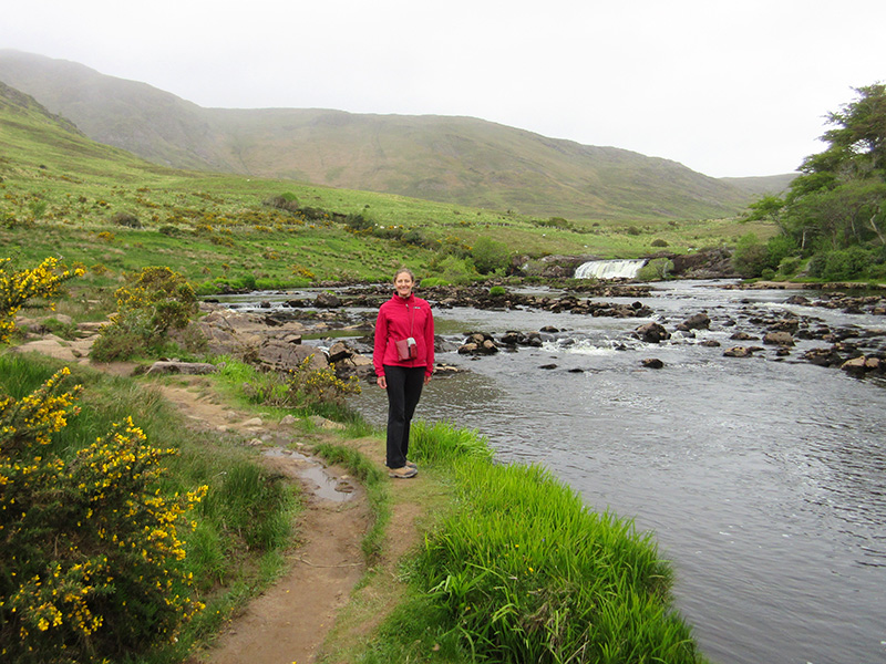 Christi on the River Erriff near Aasleagh Falls