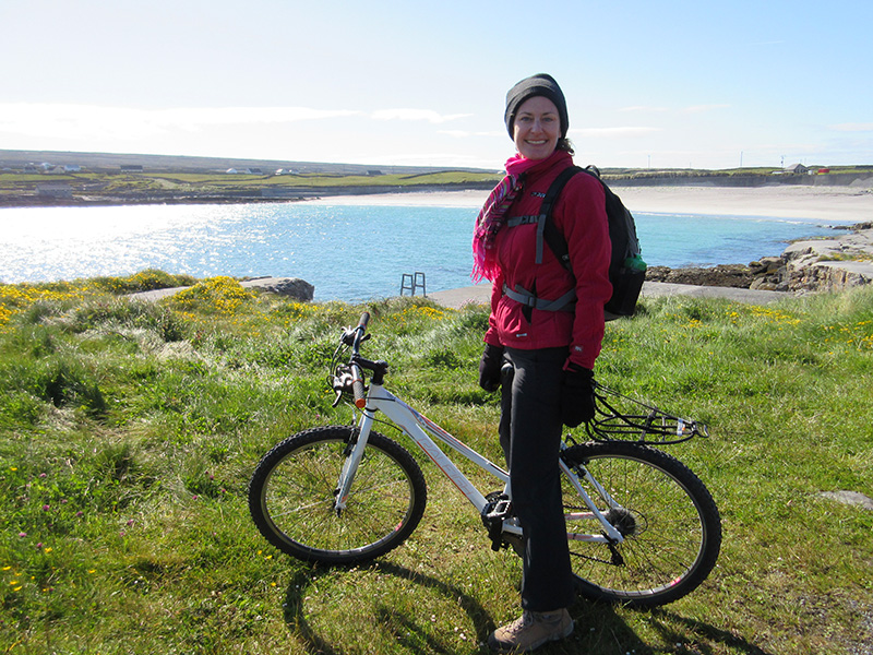 Christi on a rented bike on Inishmore