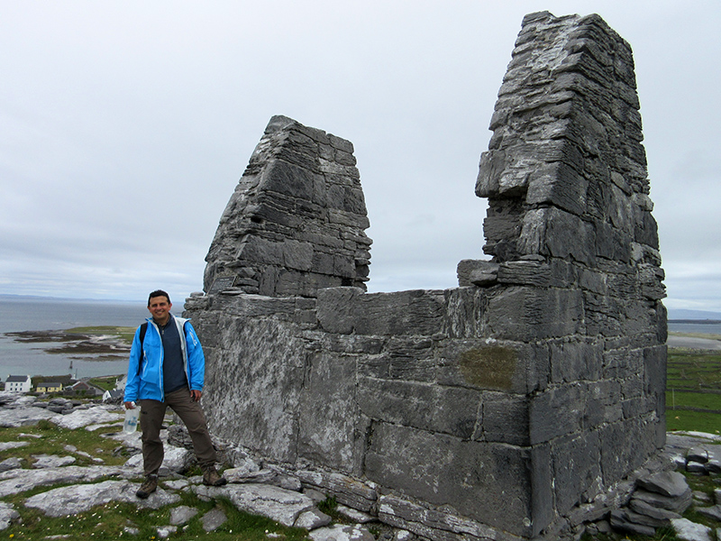 Hector at the temple of St. Benen on Inishmore