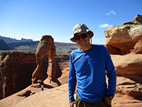 Hector at Delicate Arch in Arches National Park